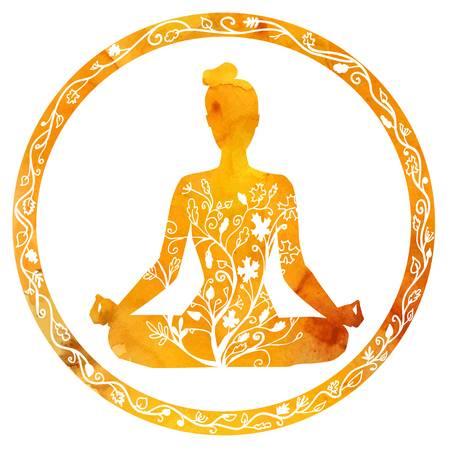 Yoga clipart of woman meditating